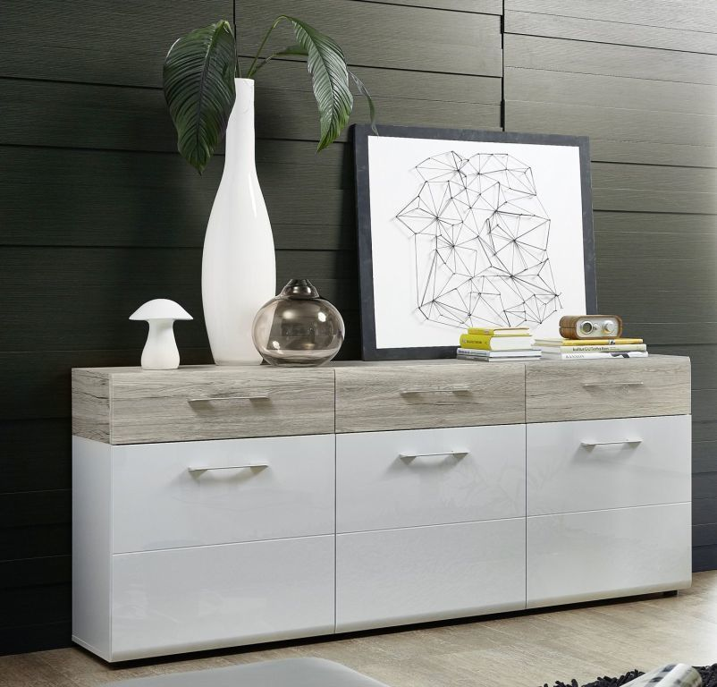 bahut spirit blanc ultra brillant ch ne sable sb meubles discount. Black Bedroom Furniture Sets. Home Design Ideas