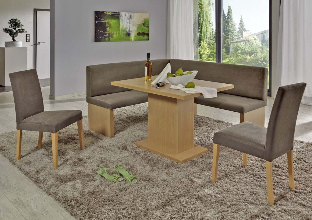 Coin repas avec banquette d 39 angle charleen beige marron for Coin repas d angle ikea