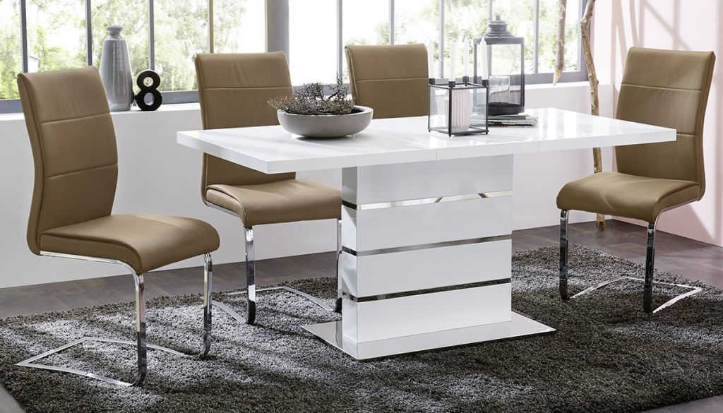 Table De Salle A Manger Antonia 2 Ton Blanc Ultra Brillant Chrome