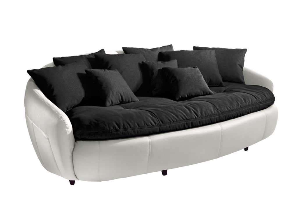 canap xxl aruba ii black white sb meubles discount. Black Bedroom Furniture Sets. Home Design Ideas