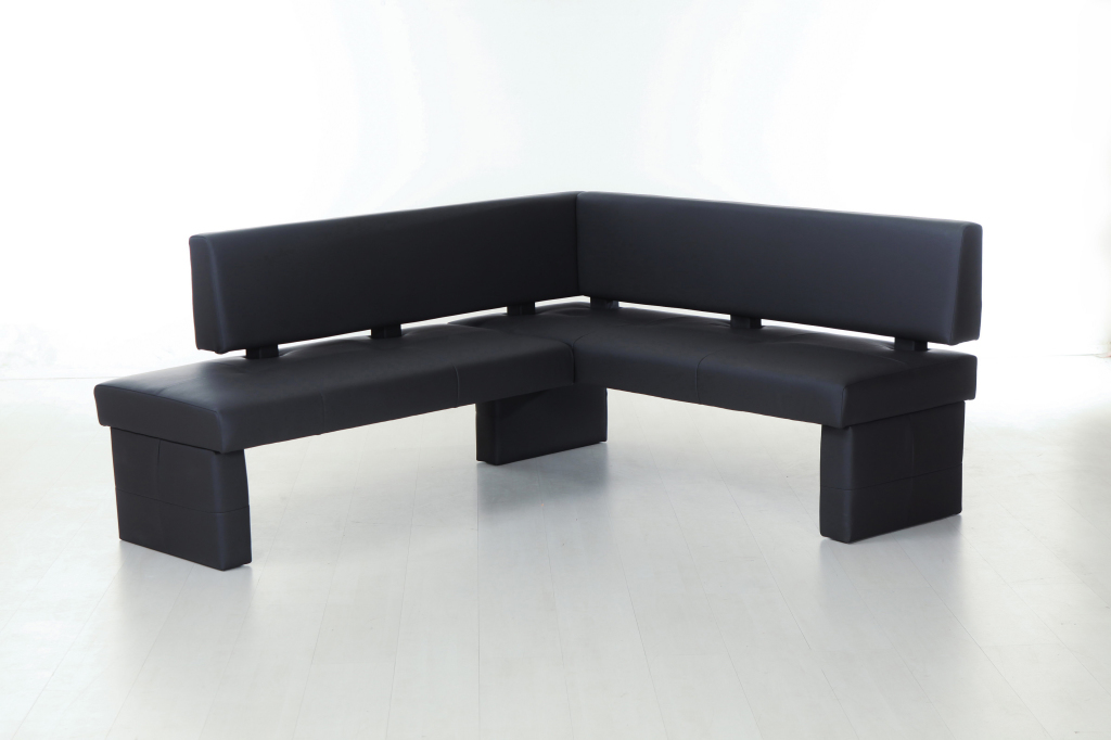 banc d 39 angle 192 cm domino noir sb meubles discount. Black Bedroom Furniture Sets. Home Design Ideas