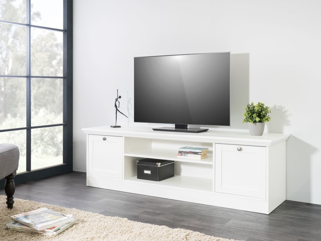 meuble tv landwood 17 ton blanc sb meubles discount. Black Bedroom Furniture Sets. Home Design Ideas