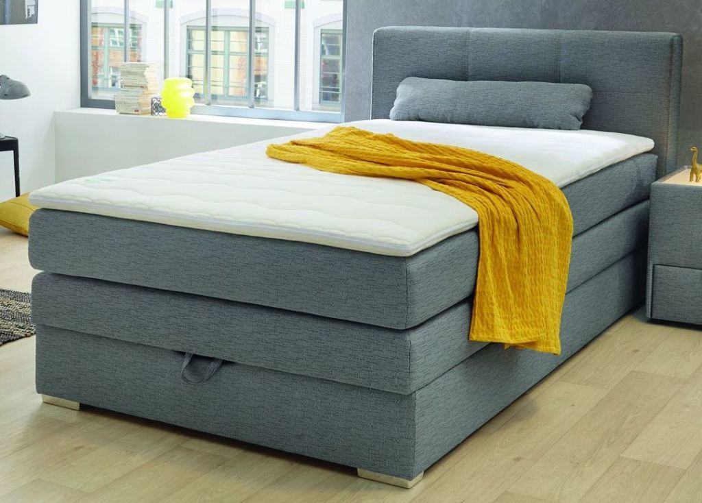 lit boxspring 120 x 200 cm eve ton gris sb meubles discount. Black Bedroom Furniture Sets. Home Design Ideas