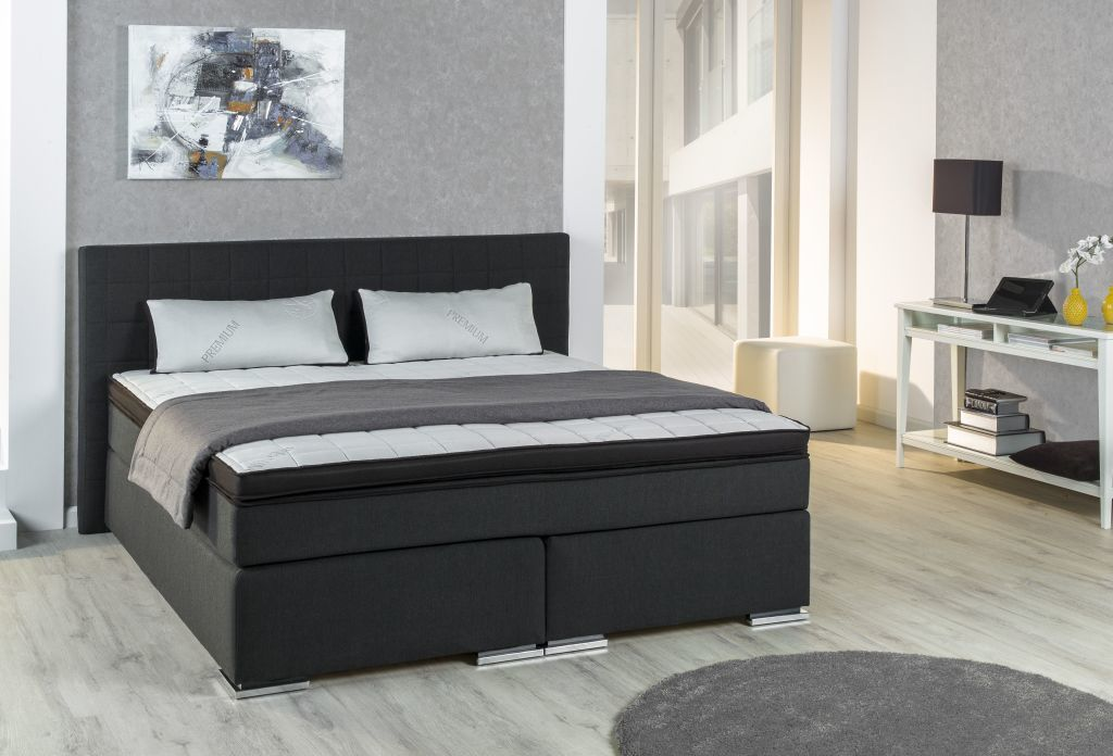 lit boxspring bx 980 160x200cm ton noir sb meubles discount. Black Bedroom Furniture Sets. Home Design Ideas