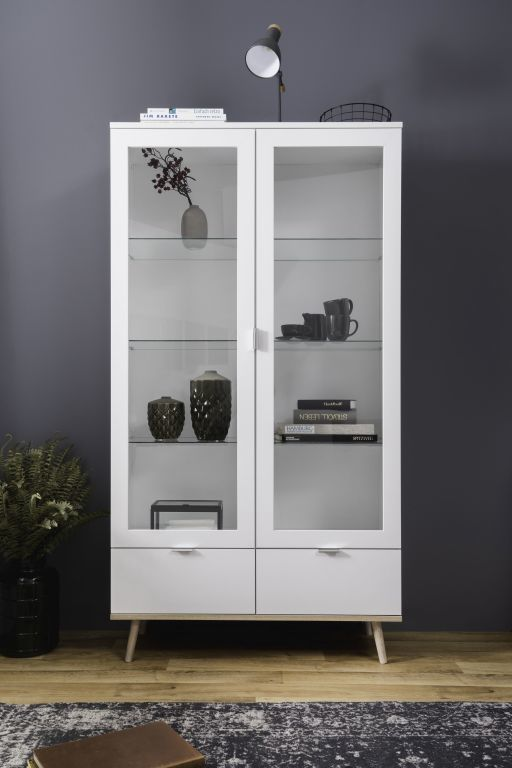 meuble vitrine g teborg 54 ton blanc ch ne sonoma sb meubles discount. Black Bedroom Furniture Sets. Home Design Ideas