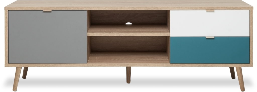 banc tv cuba 54 ch ne sonoma blanc bleu p trole gris sb meubles discount. Black Bedroom Furniture Sets. Home Design Ideas